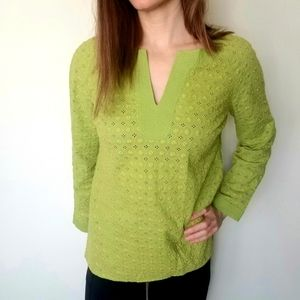 Charter Club pullover eyelet summer top green 4